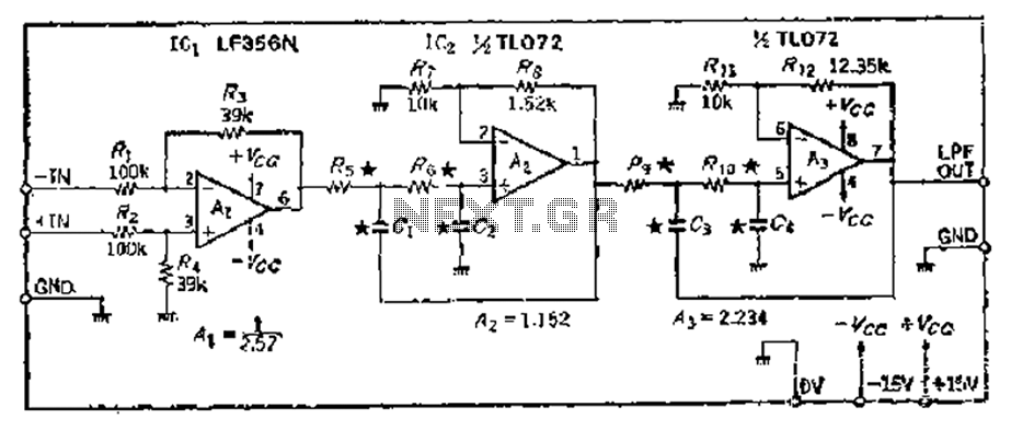 The same capacitance parameters easy to change the cutoff frequency of the low pass filter 24dB-oct - schematic