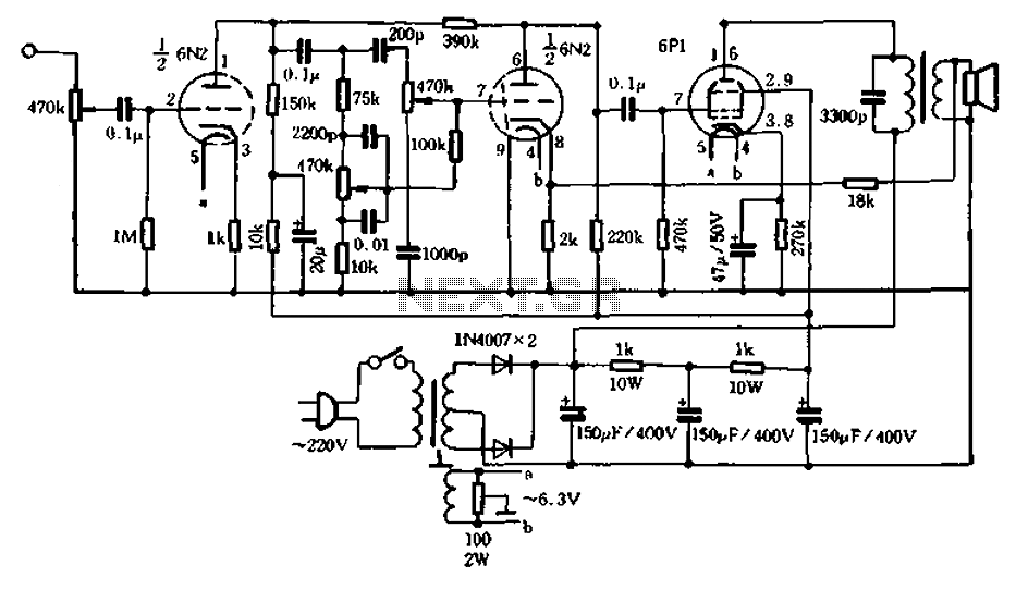 The use of low-power tube amp tube radios restructuring - schematic