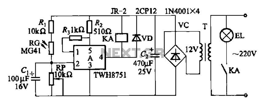 Twelve road lighting control circuits - schematic