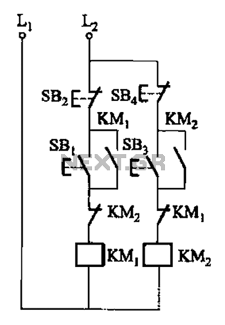 Two electric motors or electrical interlocking control circuit - schematic