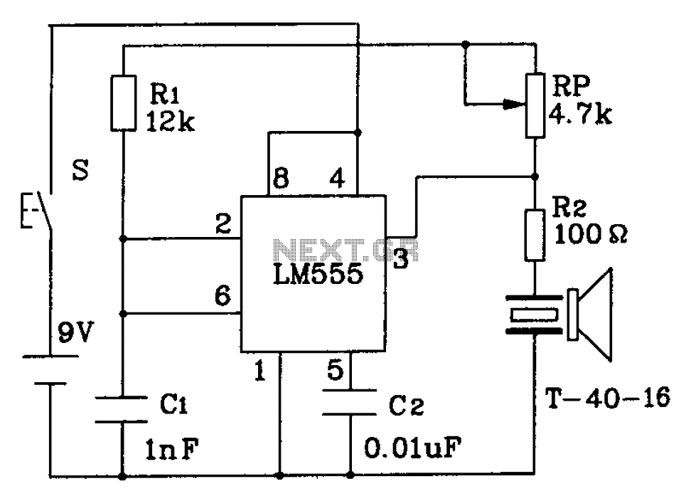 ultrasonic transmitter circuit 555 under ultrasonic