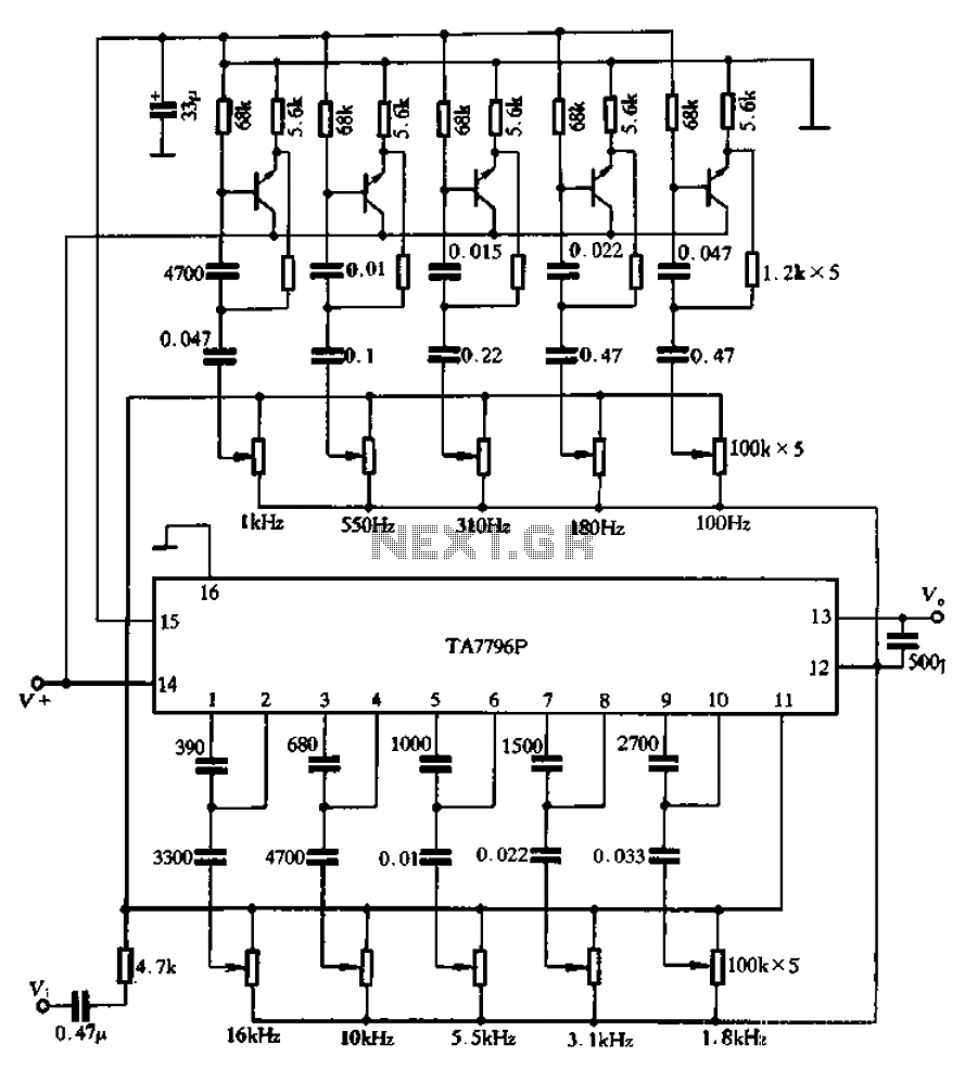 Using an external transistor ten-band equalizer - schematic