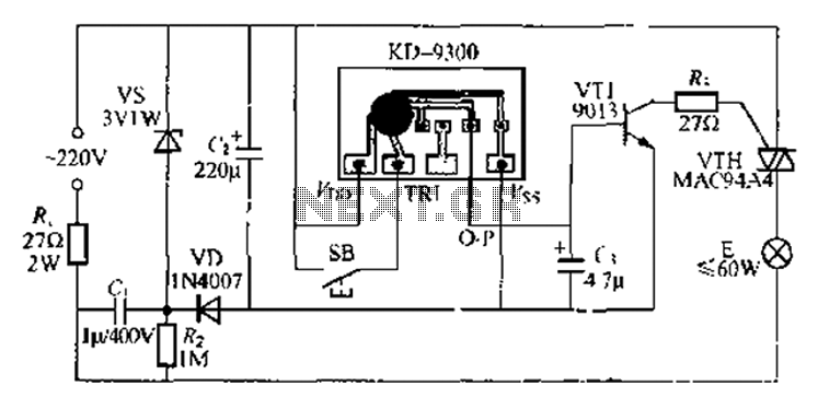 Using music integrated circuit delay lamp - schematic