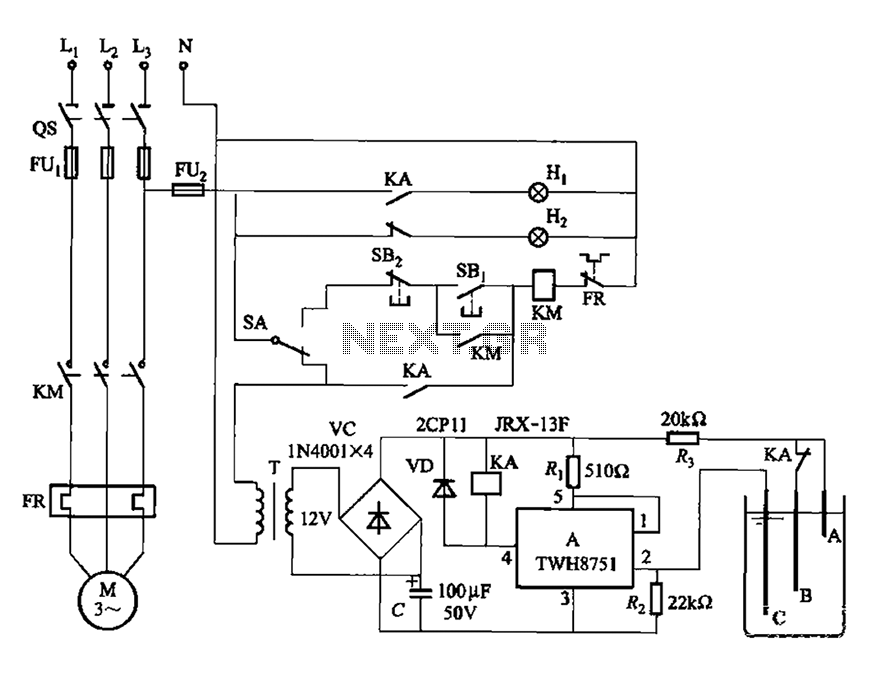 Using the power switch integrated circuit level one controlled circuit sink type - schematic