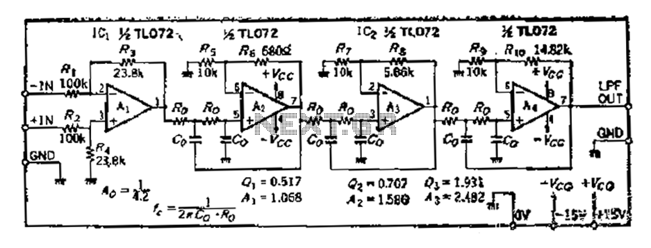Using the same parameters more convenient level 36dB-oct low-pass filter design - schematic