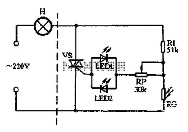 With triac light control lamp 1 - schematic