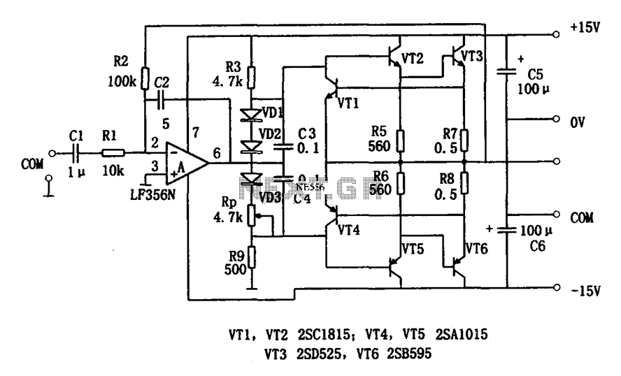 7w audio power amplifier lf356 under audio amplifier circuits