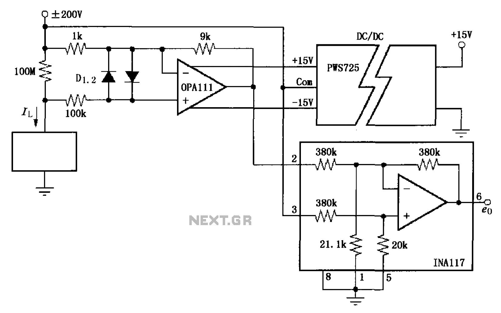 buffer leakage current measurement circuit diagram opa111