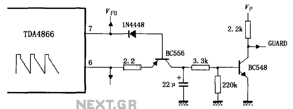 External protection signal generator by a circuit diagram TDA4866