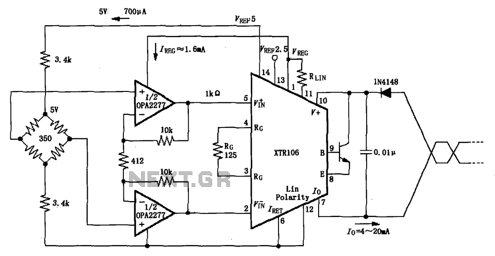 Has 50 times the pre-amplified bridge circuit diagram XTR106