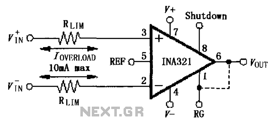 INA321 322 input current protection circuit diagram