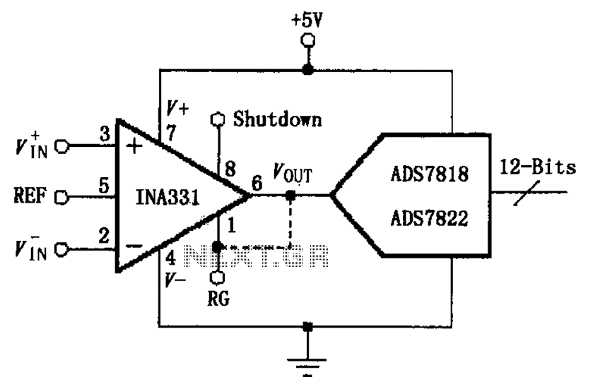 INA331 332 configured to directly drive the capacitive input A D converter circuit