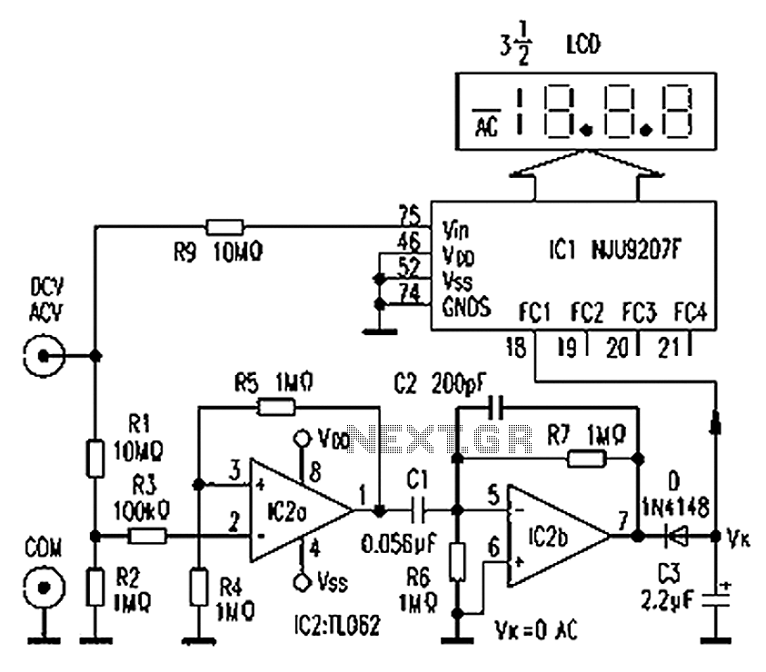 digital voltmeter using icl7107  u2013 electronic circuits and
