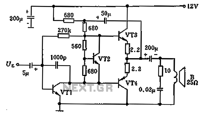 overload protection circuit diagram of 25 ohm speaker