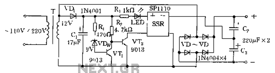 Schematic circuit diagram of low voltage and low voltage automatic conversion
