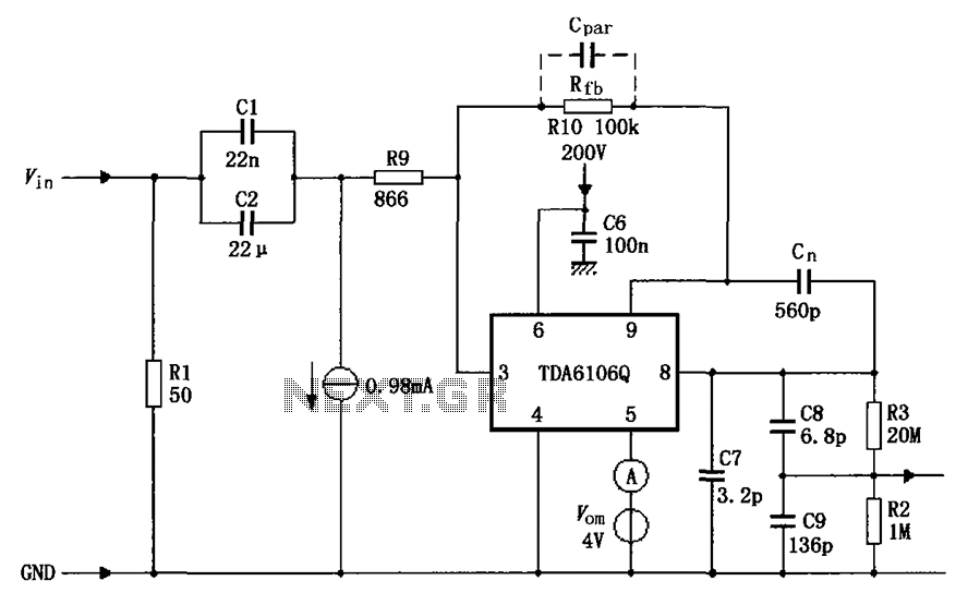 tda6106q having a feedback factor of the test circuit diagram 1 116 under other circuits