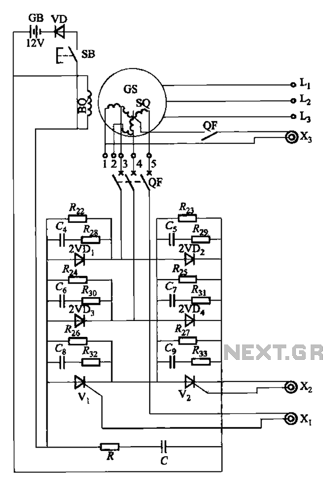 Third harmonic excitation device automatic circuit a thyristor