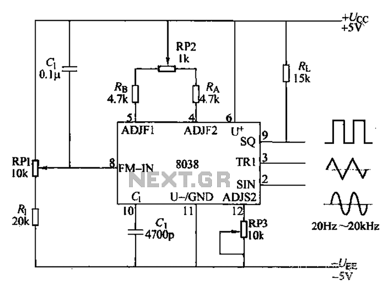 8038 fraquency signal generator circuit diagram