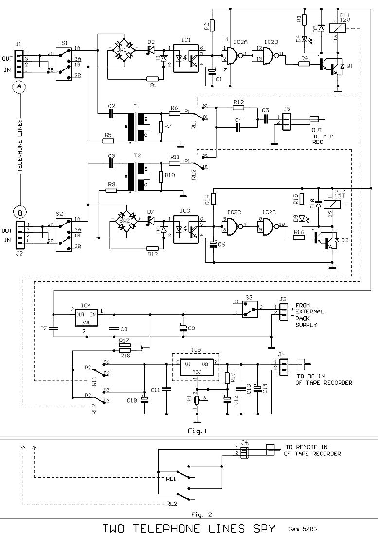 Dual phone line auto recorder - schematic