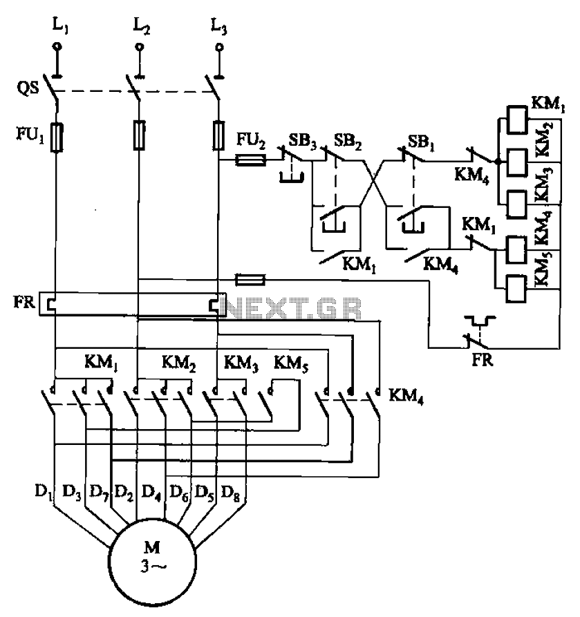 2 -Y-connected two-speed motor contactor control circuit - schematic