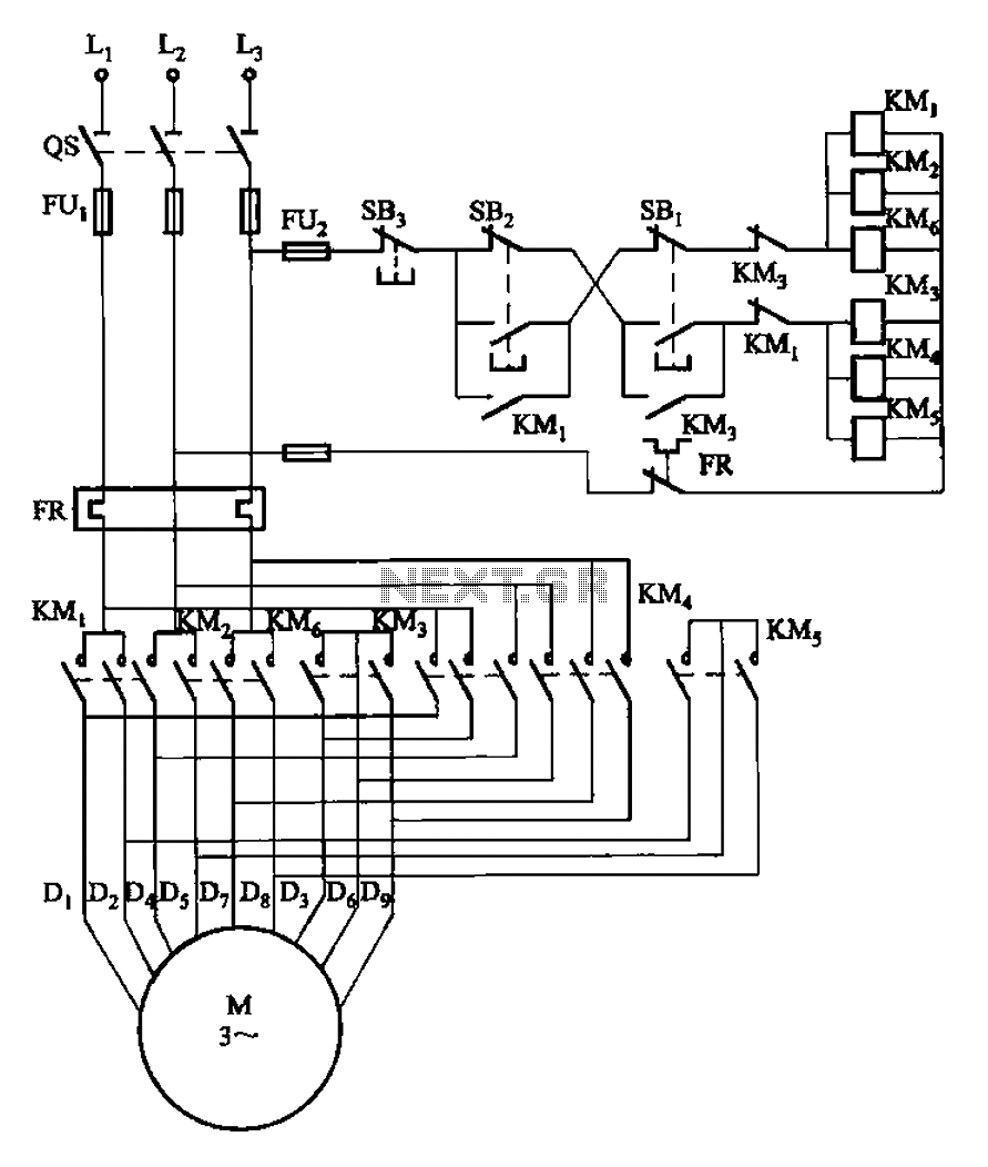 2Y-2Y connection two-speed motor contactor control circuit - schematic