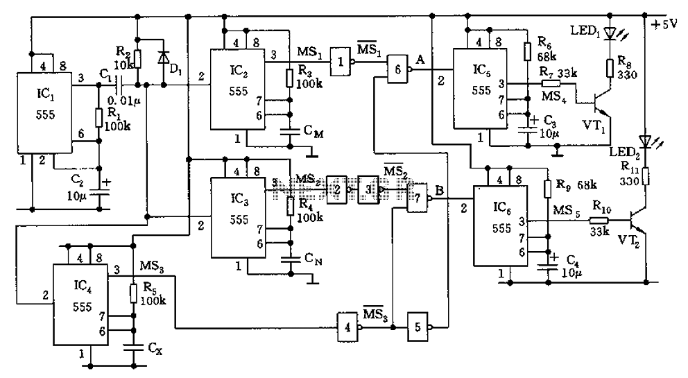 555 capacitor filter circuit diagrams - schematic