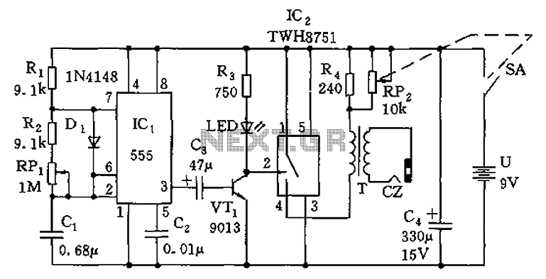 555 simple electronic circuit diagram massage - schematic