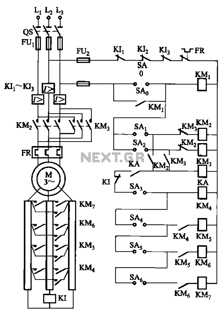 A control circuit reversing braking and reverse grading speed control function - schematic
