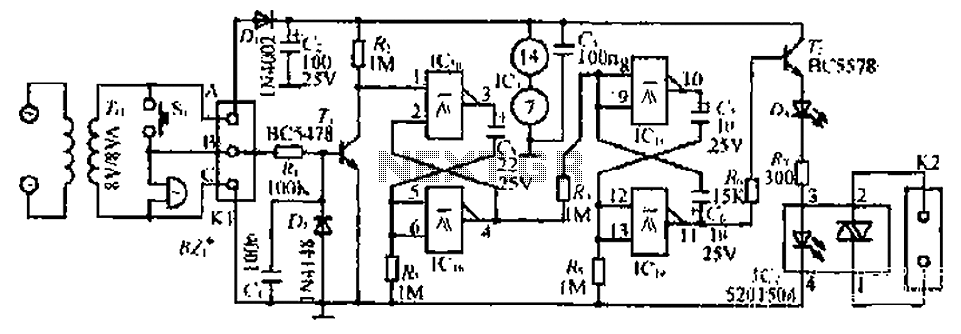 A deaf visual doorbell circuit - schematic