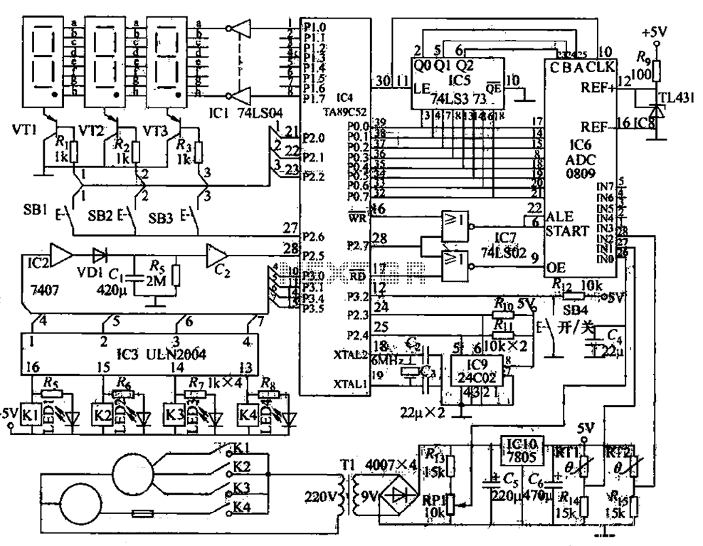 Air conditioner microcomputer control circuit - schematic