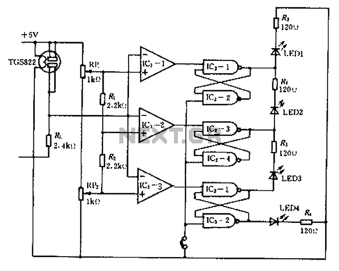 Alcohol used to monitor gas concentration gas sensor circuit diagram - schematic