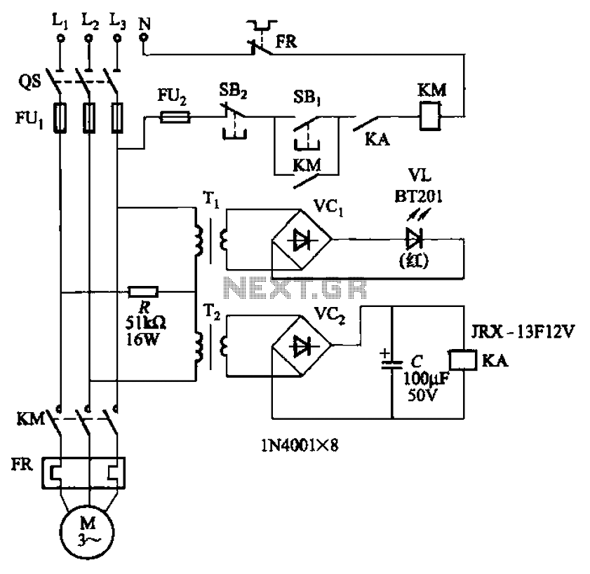 Allowing only one-way operation of the motor-controlled circuit 2 - schematic