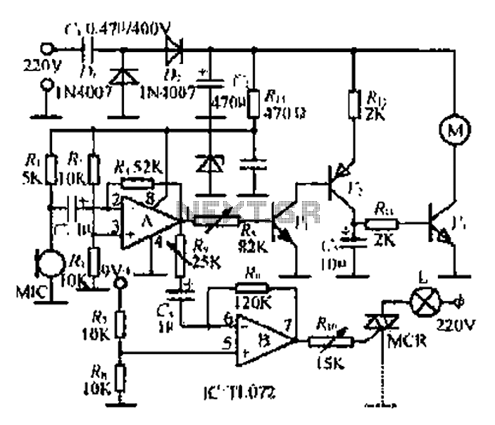 An electronic music rotating lights circuit - schematic