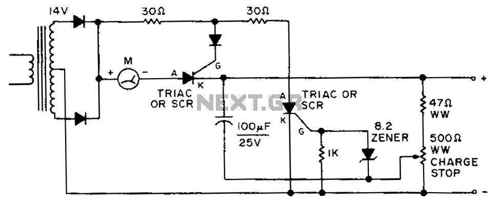 Automatically disconnect the battery charger circuit - schematic