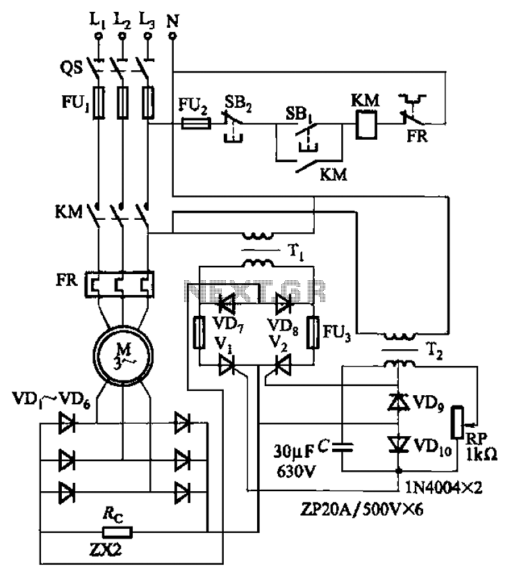 Auxiliary power supply circuit using variable speed