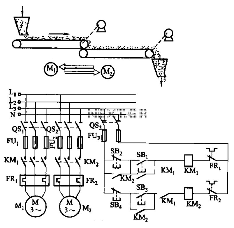 belt conveyor interlock motor operation sequence control circuit under sequencer circuits
