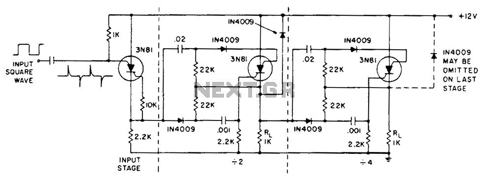Binary counter circuit diagram - schematic