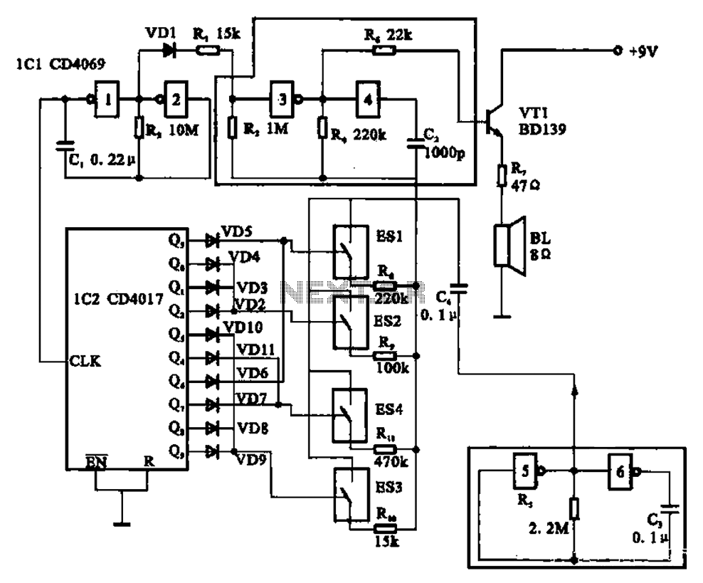 birds singing analog signal generator circuit under