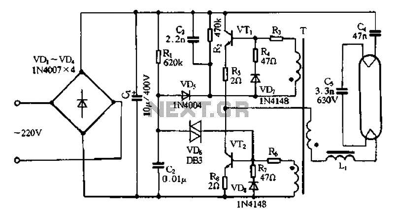 bridge rectifier circuit in the electronic ballast
