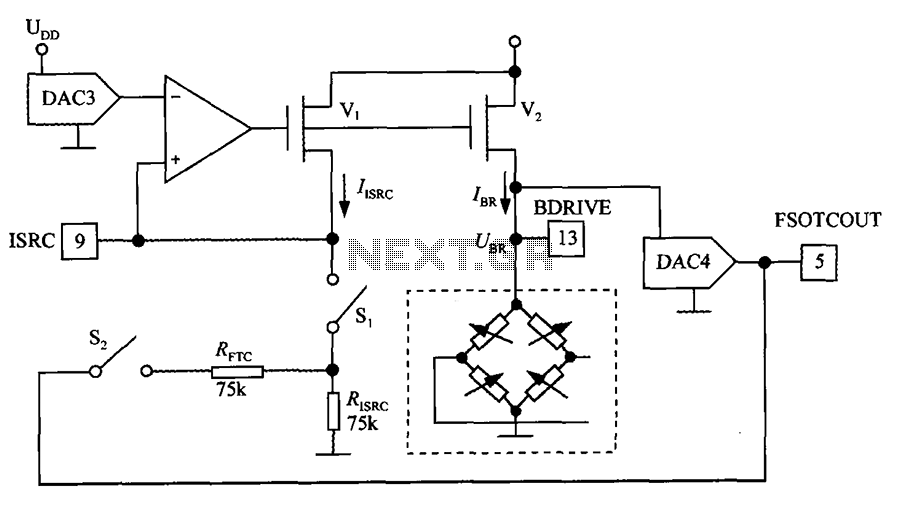 Bridge the digital pressure signal conditioner MAX1458 excitation circuit diagram - schematic
