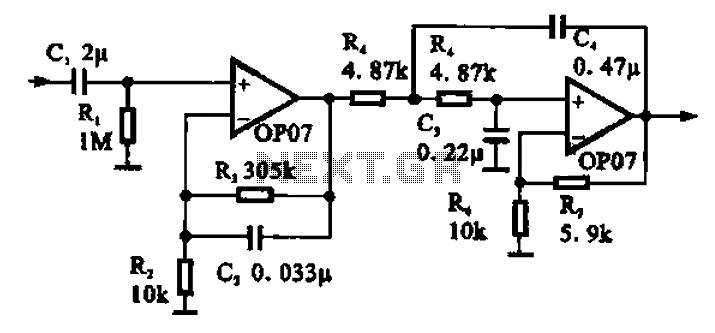 Broadband 0.1 to 10Hz filter amplifier - schematic