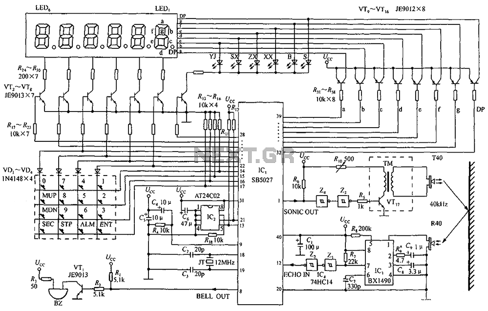 By a clock with a calendar Ultrasonic Ranging IC SB5027 a circuit diagram of an ultrasonic range finder - schematic