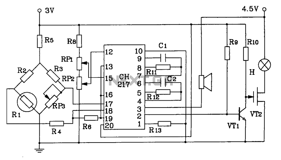 CH217 monolithic gas gas gas detection alarm integrated circuits the circuit diagram of gas detection alarm - schematic