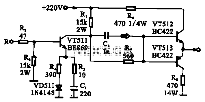 CRT final video driver amplifier - schematic