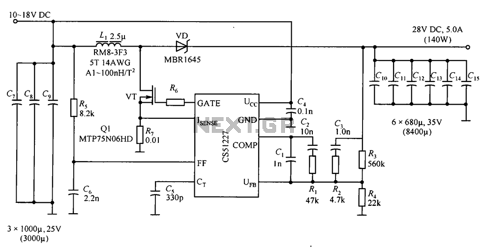 CS51227 by the output of 28V 5A DC power supply circuit