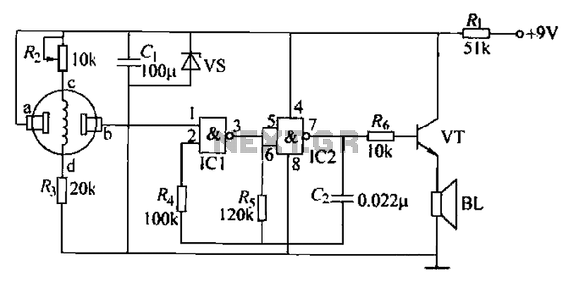 Combustible gas alarm circuit - schematic