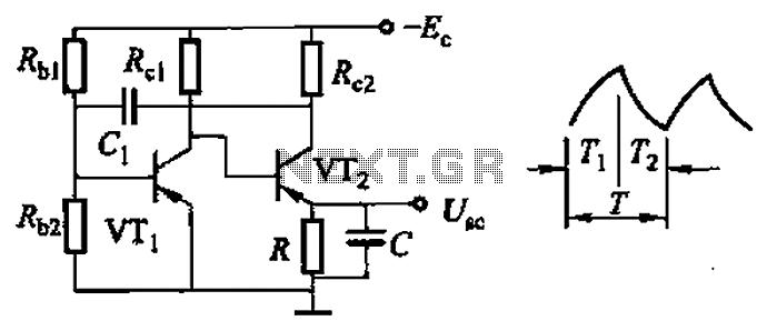 Common non-sinusoidal oscillator circuit waveform sawtooth oscillator use multivibrator - schematic