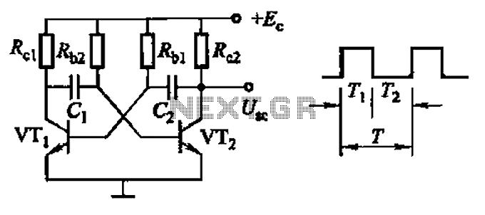 Common non-sinusoidal oscillator circuit waveform square wave oscillator self-excited multivibrator - schematic