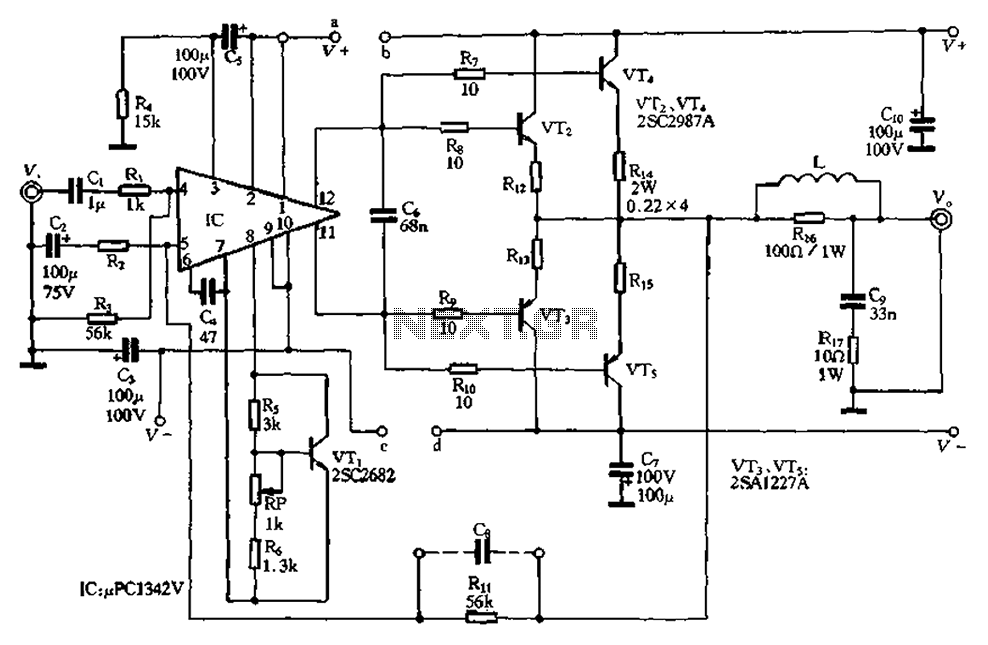 Compact 100W power amplifier circuit - schematic