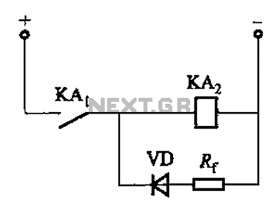 DC relay delayed release circuit 2 b - schematic